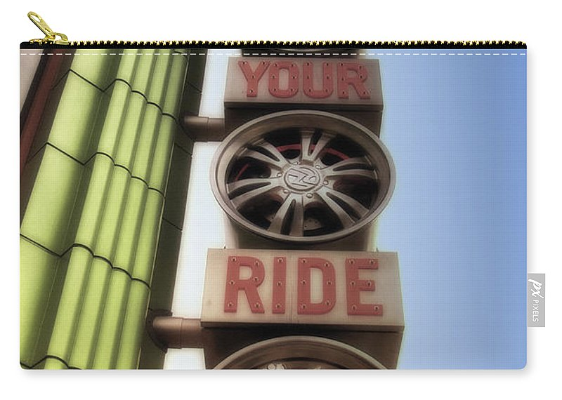 Disney Carry-all Pouch featuring the photograph Build Your Ride Signage Downtown Disneyland 01 by Thomas Woolworth