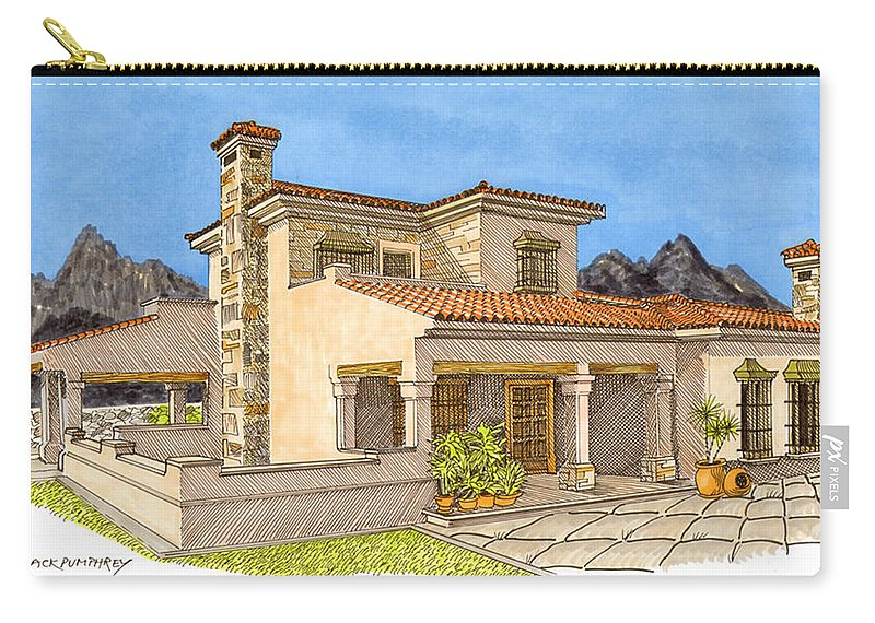 Architectural Renderings Carry-all Pouch featuring the painting Builders Rendering by Jack Pumphrey