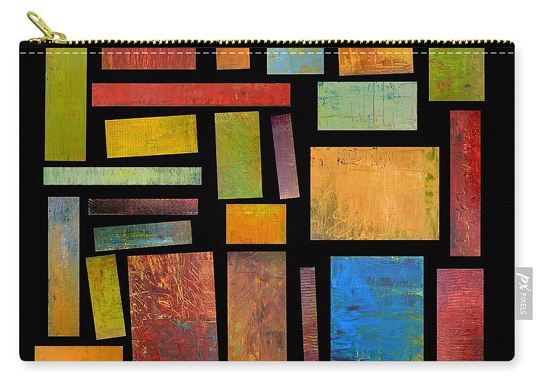 Textural Carry-all Pouch featuring the painting Building Blocks Three by Michelle Calkins