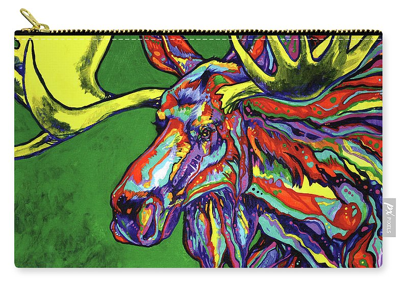Contemporary Carry-all Pouch featuring the painting Bull Moose by Derrick Higgins