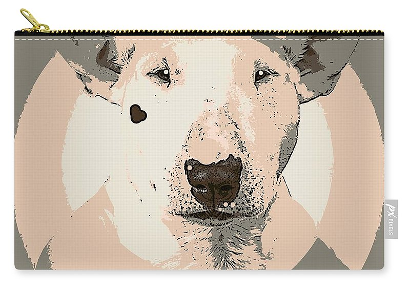 Dog Carry-all Pouch featuring the painting Bull Terrier Graphic 1 by George Pedro