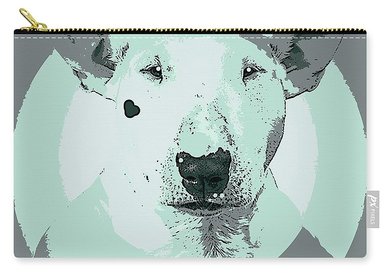 Dog Carry-all Pouch featuring the painting Bull Terrier Graphic 3 by George Pedro