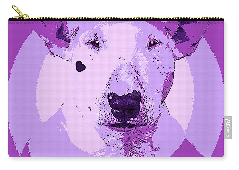 Dog Carry-all Pouch featuring the painting Bull Terrier Graphic 5 by George Pedro