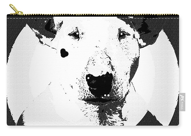 Dog Carry-all Pouch featuring the painting Bull Terrier Graphic 6 by George Pedro