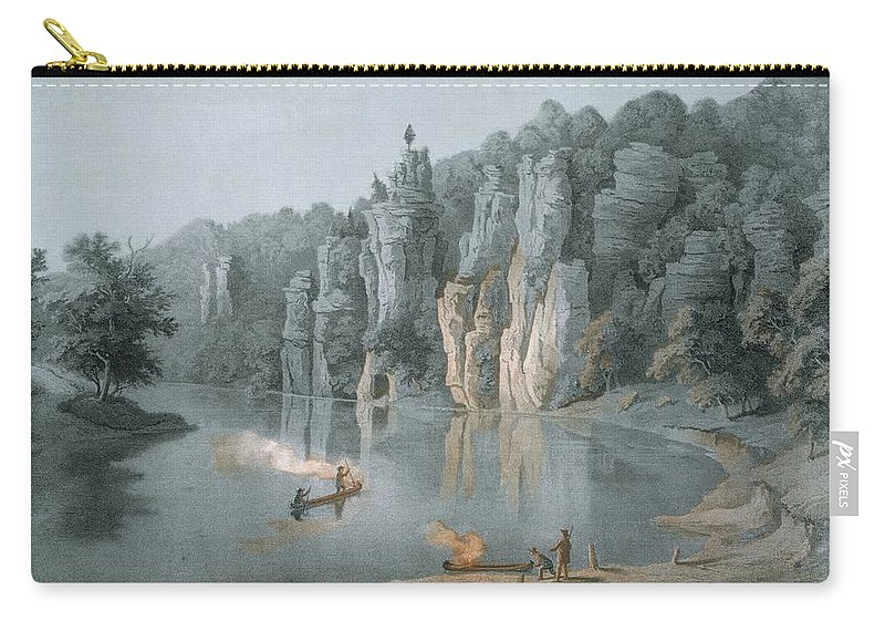 Virginia Carry-all Pouch featuring the drawing Bullard Rock On The New River by Edward Beyer