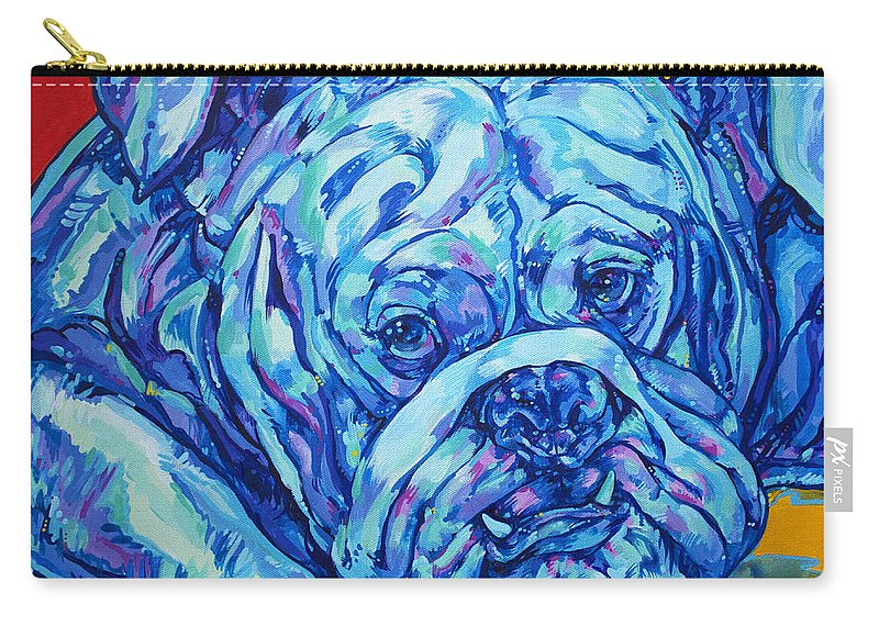 Bulldog Carry-all Pouch featuring the painting Bulldog Blues by Derrick Higgins