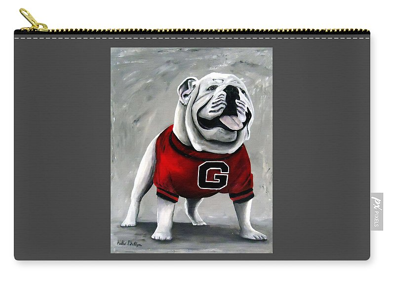 University Of Georgia Carry-all Pouch featuring the painting Uga Bulldog College Mascot Dawg by Katie Phillips