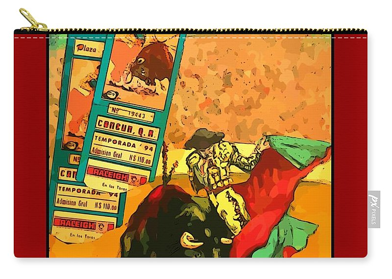 Bullfight Poster Carry-all Pouch featuring the photograph Bullfight Poster by John Malone