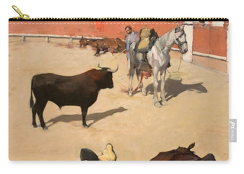 Ramon Casas Carry-all Pouch featuring the painting Bulls. Dead Horses by Ramon Casas