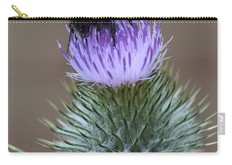 Thistle Carry-all Pouch featuring the photograph Bumble Thistle by Richard Thomas