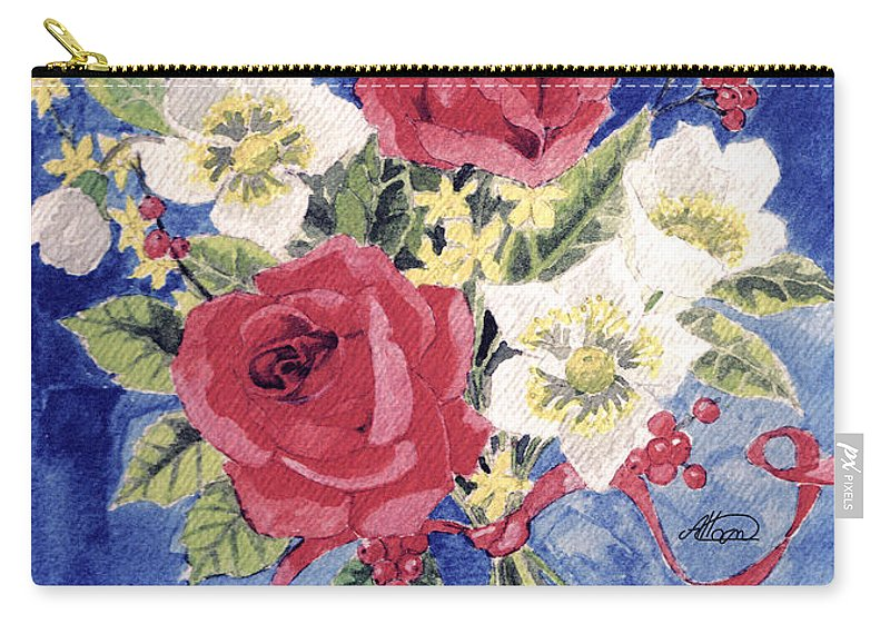 Bunch Of Flowers Carry-all Pouch featuring the painting Bunch Of Flowers by Alban Dizdari