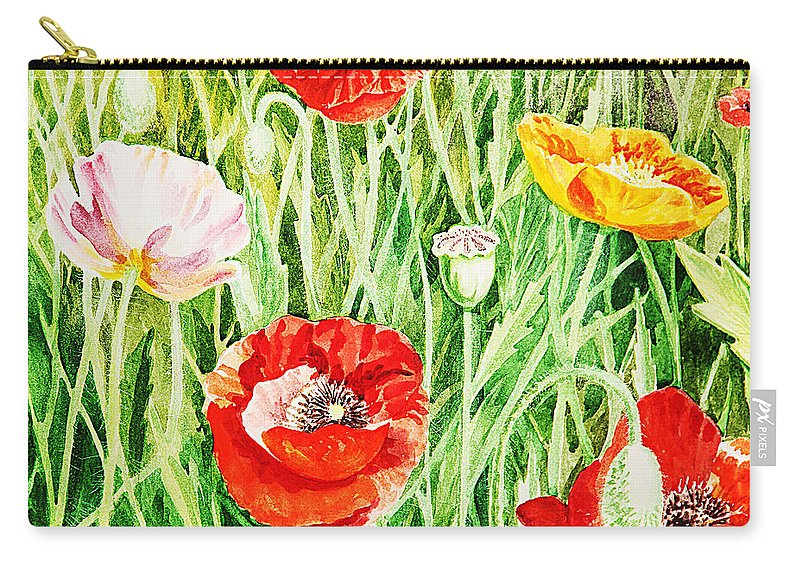 Poppies Carry-all Pouch featuring the painting Bunch Of Poppies II by Irina Sztukowski