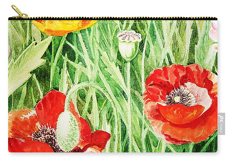 Poppies Carry-all Pouch featuring the painting Bunch Of Poppies IIi by Irina Sztukowski