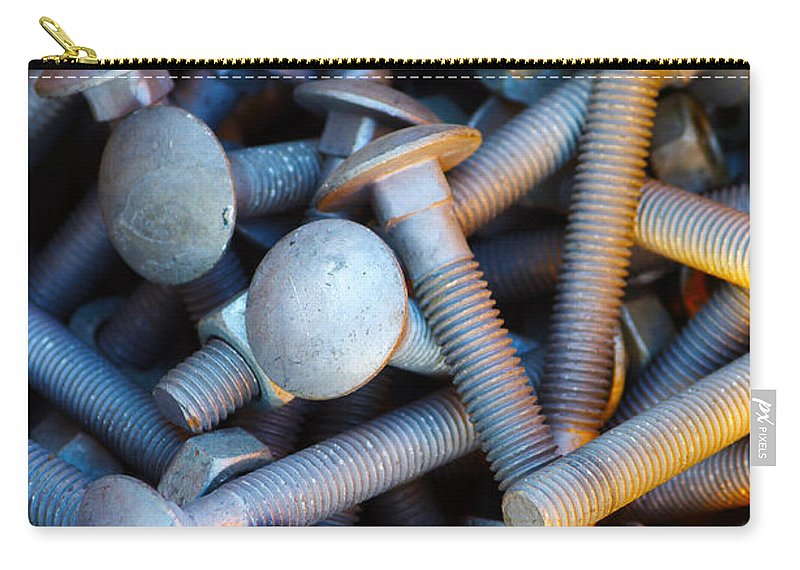 Aluminium Carry-all Pouch featuring the photograph Bunch Of Screws by Carlos Caetano
