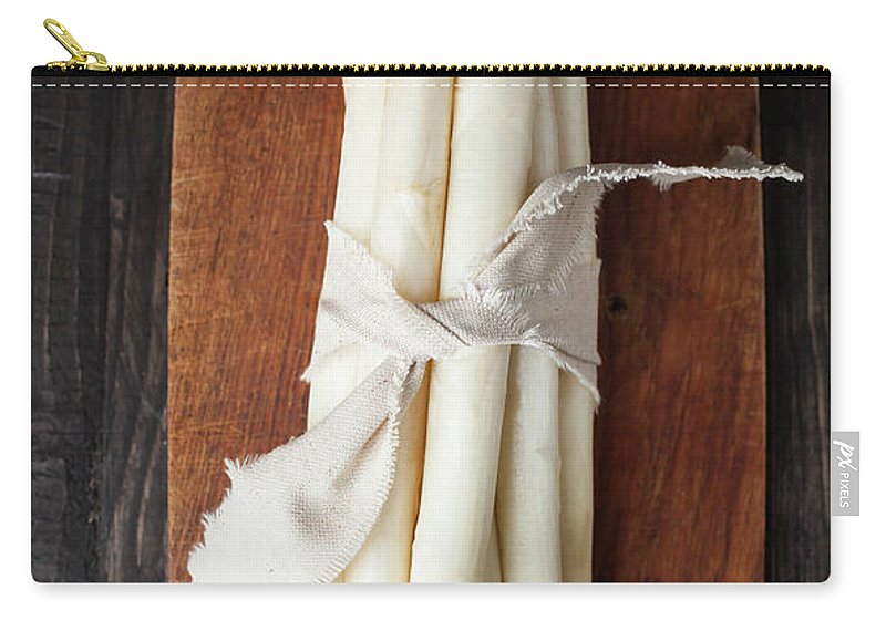 Cutting Board Carry-all Pouch featuring the photograph Bunch Of White Asparagus On Chopping by Westend61