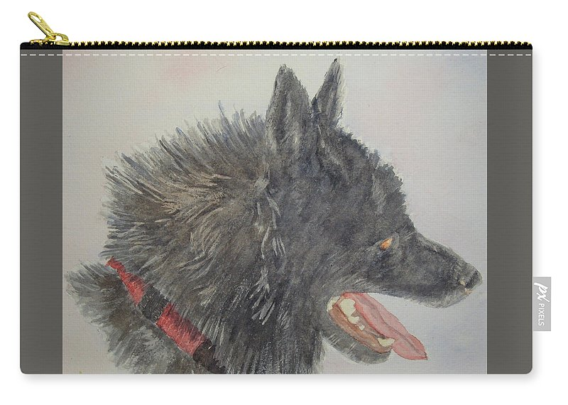 Dogs Carry-all Pouch featuring the painting Bunker by Carol Luzzi