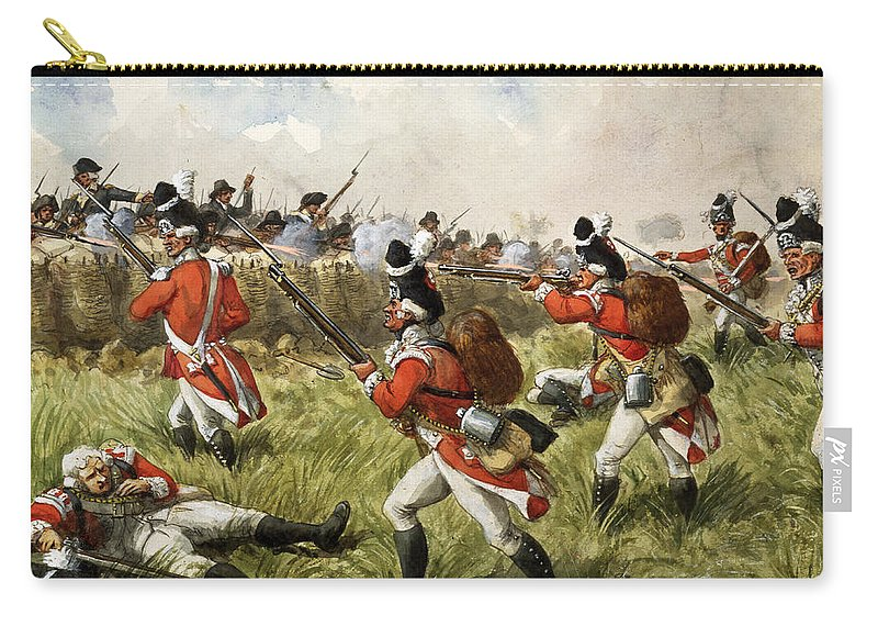 Shooting Carry-all Pouch featuring the painting Bunkers Hill, 1775 by Richard Simkin
