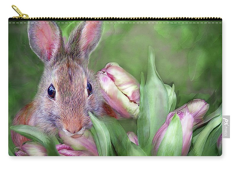 Bunny Carry-all Pouch featuring the mixed media Bunny In The Tulips by Carol Cavalaris