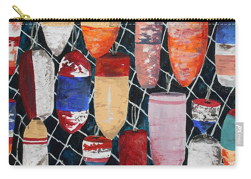Buoy Carry-all Pouch featuring the painting Buoy Nautical Vintage Art by Derek Mccrea