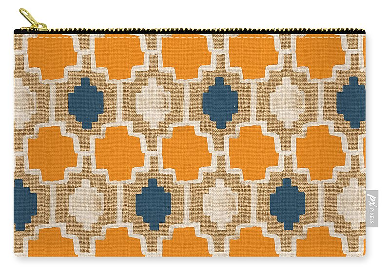 Abstract Pattern Carry-all Pouch featuring the painting Burlap Blue And Orange Design by Linda Woods