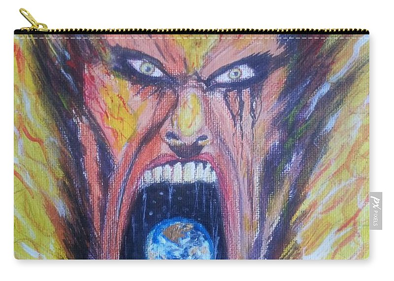 Man Face World Fire Scream Carry-all Pouch featuring the painting Burn by Mark Bradley