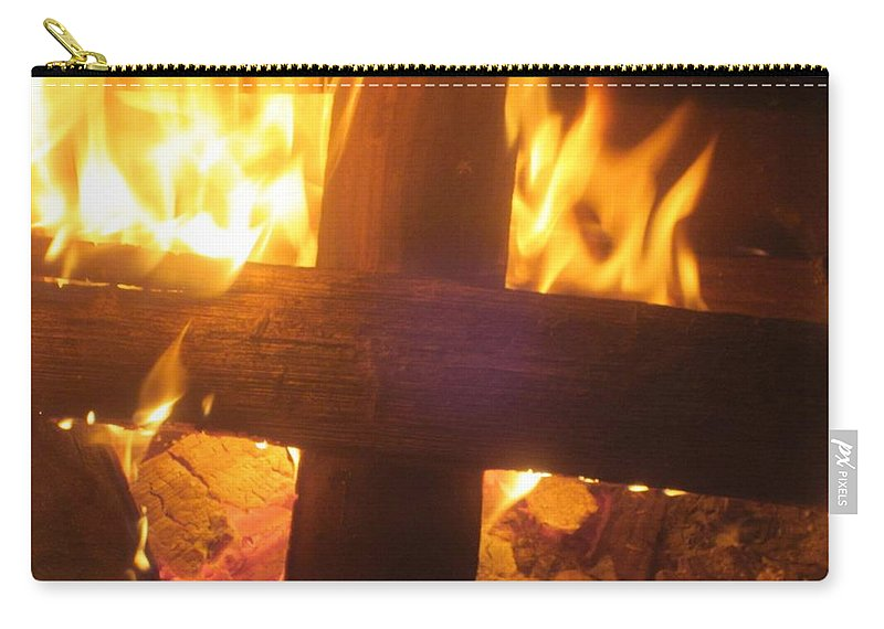 Fire Carry-all Pouch featuring the photograph Burning Cross by Jo Jurkiewicz