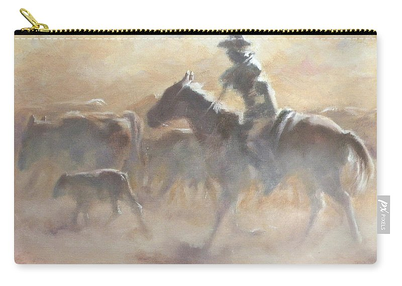 Cowboys Carry-all Pouch featuring the painting Burning Daylight by Mia DeLode