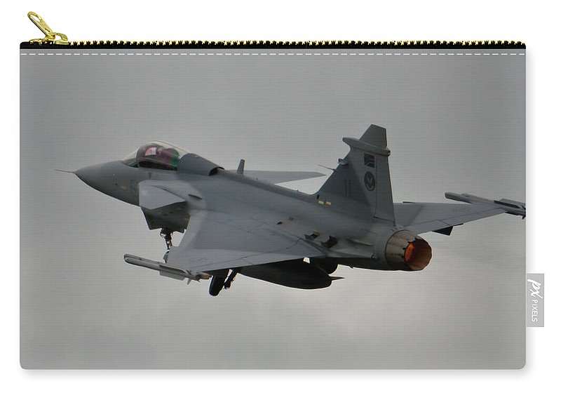 Saab Jas 39 Gripen Carry-all Pouch featuring the photograph Burning by Paul Job