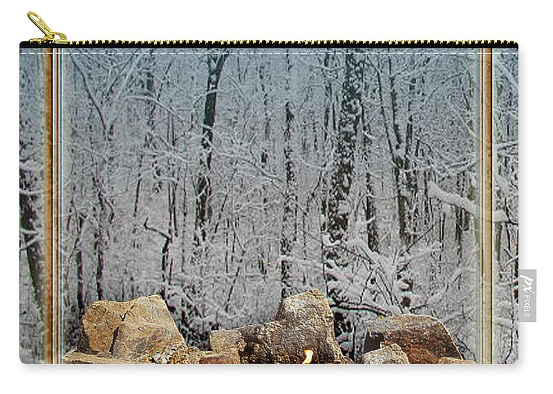 Yule Carry-all Pouch featuring the digital art Burning Yule Log by Melissa A Benson
