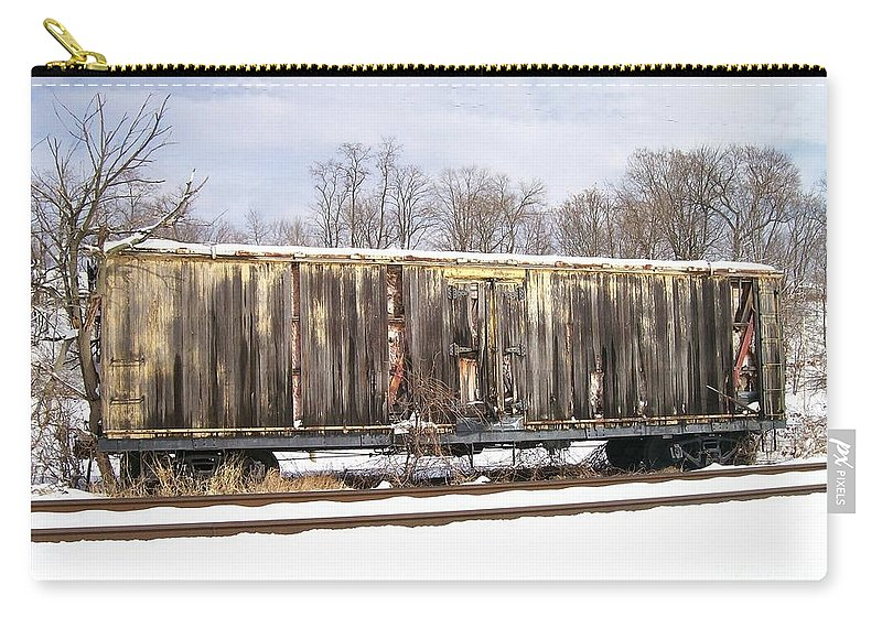 Train Carry-all Pouch featuring the photograph Burnt by Sara Raber