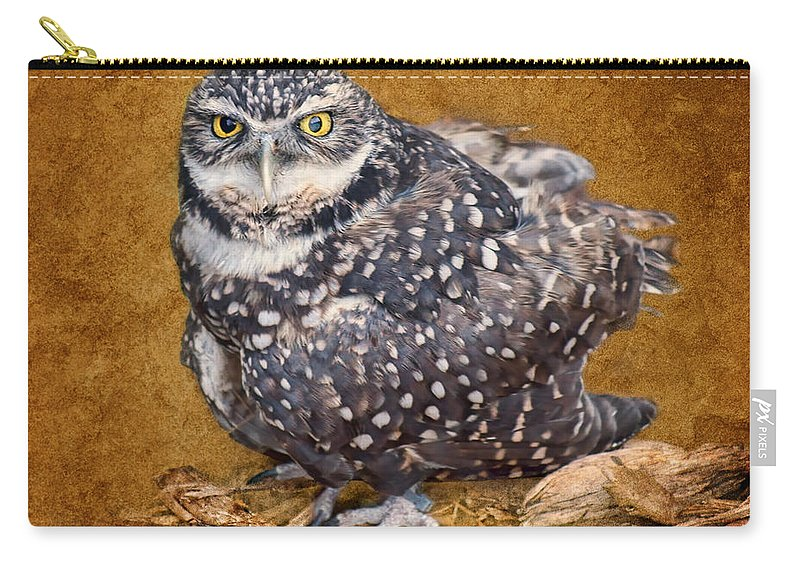 Raptors Carry-all Pouch featuring the photograph Burrowing Owl Portrait by Nikolyn McDonald