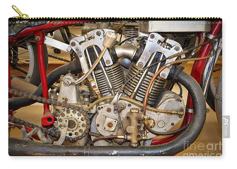 Motorcycle Carry-all Pouch featuring the photograph Burt Munro Special Indian Scout Engine by Frank Kletschkus