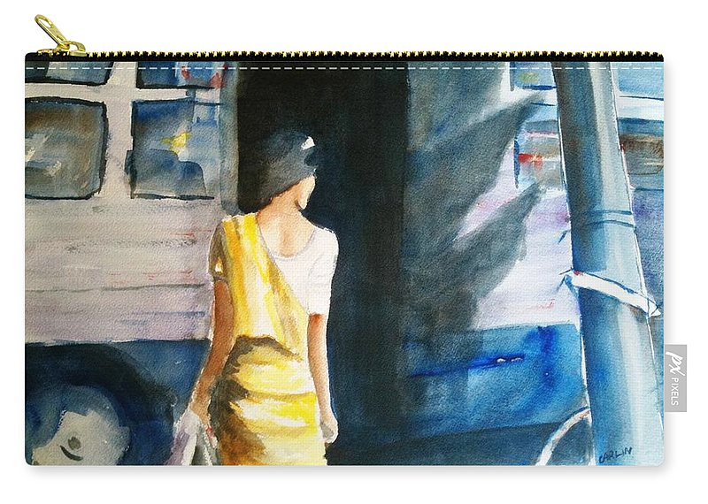 Woman Carry-all Pouch featuring the painting Bus Stop - Woman Boarding The Bus by Carlin Blahnik CarlinArtWatercolor