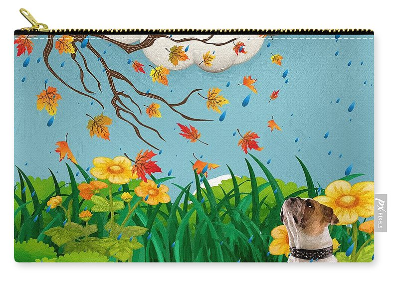 Liane Wright Carry-all Pouch featuring the painting Buster And The Tree by Liane Wright