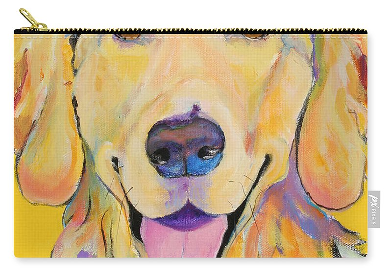 Golden Retriever Carry-all Pouch featuring the painting Buster by Pat Saunders-White