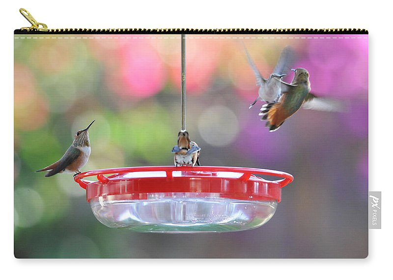 Hummingbirds Carry-all Pouch featuring the photograph Busy Day At The Feeder by Lynn Bauer