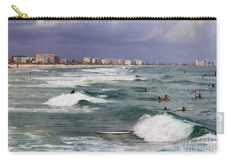 Beach Carry-all Pouch featuring the photograph Busy Day In The Surf by Deborah Benoit