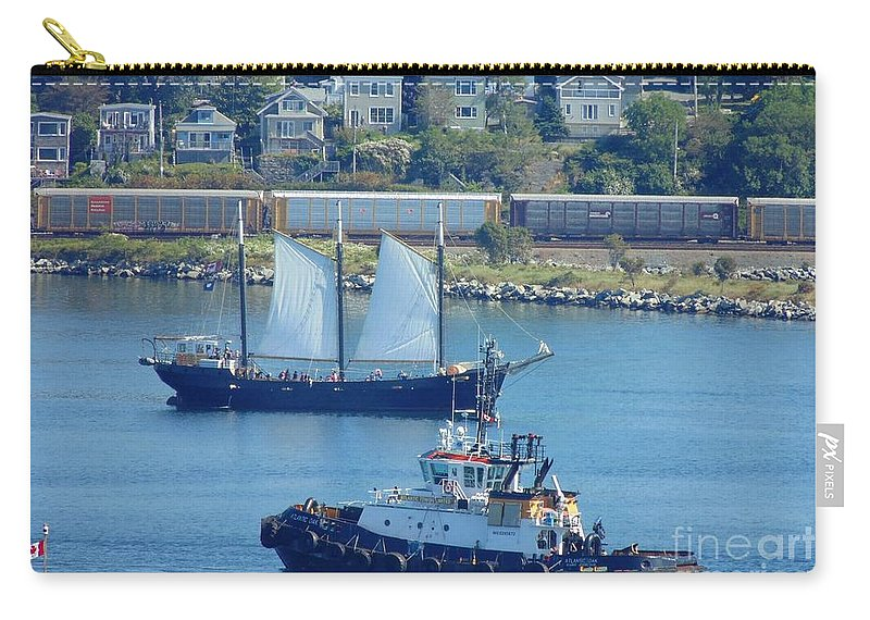 Schooners Carry-all Pouch featuring the photograph Busy Harbor by John Malone