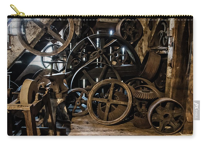 Special Effect Carry-all Pouch featuring the photograph Butte Creek Mill Interior Scene by Mick Anderson