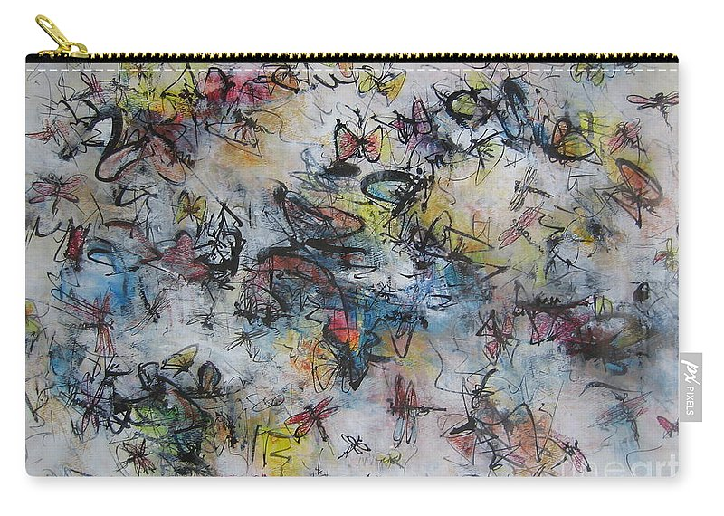 Butterfly Painting Carry-all Pouch featuring the painting Butterflies And Dragonflies by Seon-Jeong Kim