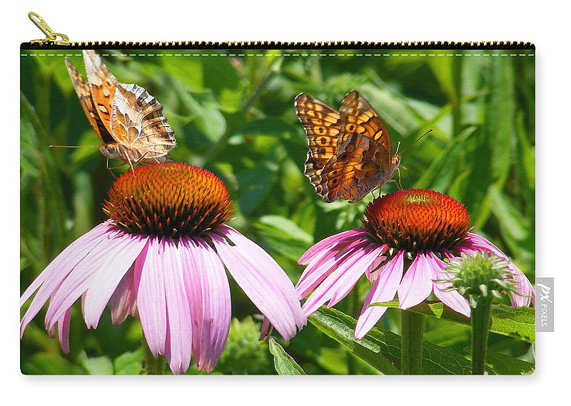 Duane Mccullough Carry-all Pouch featuring the photograph Butterflies On Echinacea Flowers by Duane McCullough