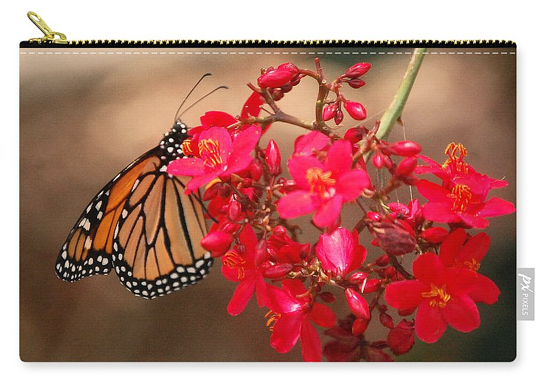 Red Carry-all Pouch featuring the photograph Butterfly 1 by Leticia Latocki