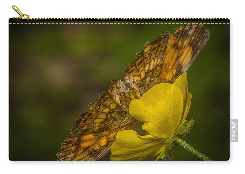 Red Carry-all Pouch featuring the photograph Butterfly Fan by Paul Freidlund