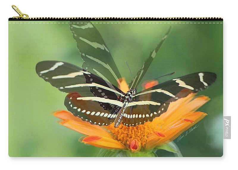 Zebra Butterfly Carry-all Pouch featuring the photograph Butterfly In Motion #1967 by Olivia Novak