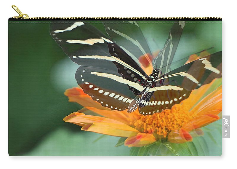 Zebra Butterfly Carry-all Pouch featuring the photograph Butterfly In Motion #1968 by Olivia Novak