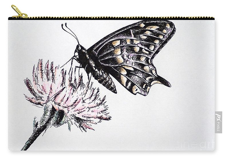 Butterfly Carry-all Pouch featuring the drawing Butterfly by Katharina Filus