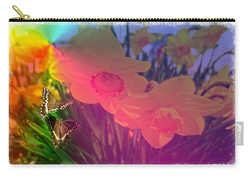 Flower Paintings Paintings Photographs Photographs Carry-all Pouch featuring the photograph Butterfly Rainbow by Mayhem Mediums