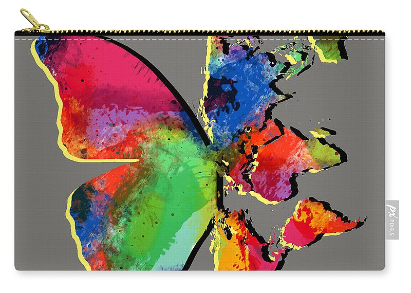 Butterfly Carry-all Pouch featuring the digital art Butterfly World Map 2 by Mark Ashkenazi