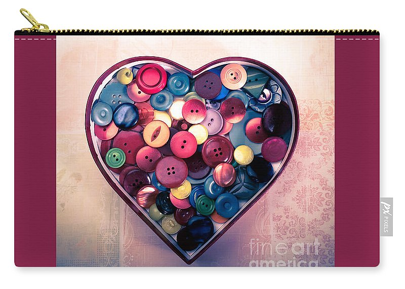 Button Carry-all Pouch featuring the photograph Button Love by Jan Bickerton