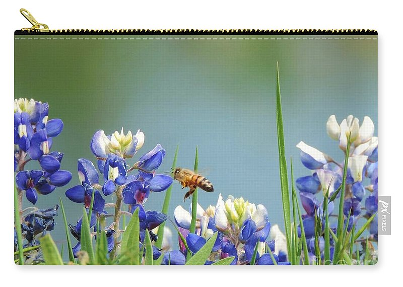 Texas Bluebonnets Carry-all Pouch featuring the photograph Buzzing The Bluebonnets 02 by Robert ONeil
